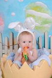 嚼在复活节红萝卜支柱的逗人喜爱的矮小的婴孩 免版税库存照片