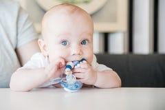 嚼玩具的男婴 免版税图库摄影