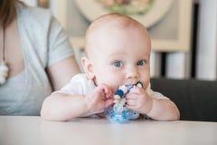 嚼玩具的男婴 免版税库存图片