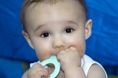 嚼装齿玩具的婴孩 免版税库存图片