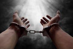 囚犯的手 免版税库存照片