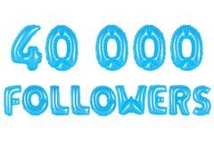 四万个追随者,蓝色颜色 库存照片