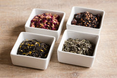 四不同亲切的茶 免版税库存照片