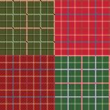 四个不同无缝的方格的样式 库存图片