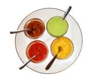 四个不同调味汁 库存照片