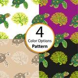 四个与热带乌龟和珊瑚的选择无缝的样式 库存图片