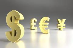 四个主要货币符号 免版税库存照片