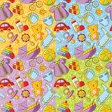 四个乱画婴孩货物无缝的模式 免版税库存图片