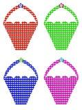 四个五颜六色的方格花布篮子 免版税库存图片