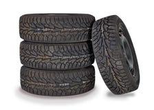 四个全新的冬天轮胎 库存照片