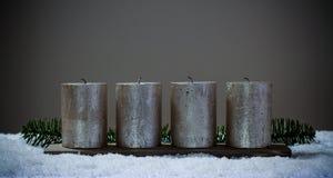 四个出现蜡烛被清除,不用火 免版税库存图片