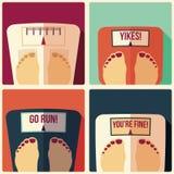 四个卫生间重量标度的汇集,平的设计 免版税库存图片