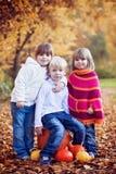四个可爱的孩子在公园,使用 库存照片