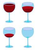 四个向量白色葡萄酒杯 库存照片
