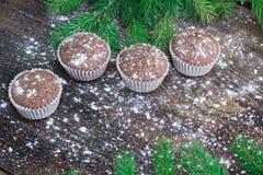 四个圣诞节蛋糕,冬天被雪包围住的木背景,冷杉tr 免版税库存照片