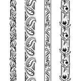 四个垂直的花卉样式 免版税图库摄影