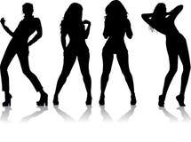 四个女孩剪影 免版税库存照片