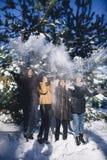 四个女孩获得乐趣在森林在冬天 库存照片