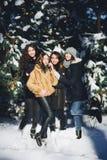 四个女孩获得乐趣在森林在冬天 免版税图库摄影