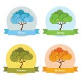 四个季节树 免版税库存图片