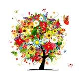 四个季节概念。您的设计的艺术树 库存照片