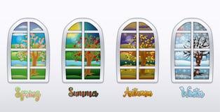四个季节窗口墙纸,传染媒介 免版税库存照片