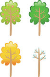 四个季节结构树 库存例证