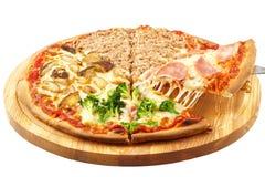 四个季节薄饼,无盐干酪,葱,火腿,金枪鱼,硬花甘蓝,蘑菇,按钮 免版税图库摄影
