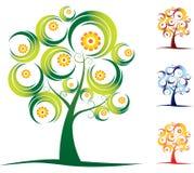 四个季节设置了结构树 免版税库存图片
