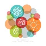 四个季节象标志传染媒介 库存图片