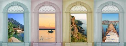 四个季节风景-葡萄酒设计 免版税库存图片