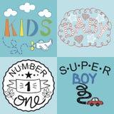 四个孩子商标手写婴孩,孩子,超级男孩,第一 图库摄影