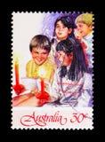 四个孩子-圣诞节, serie,大约1987年 库存照片
