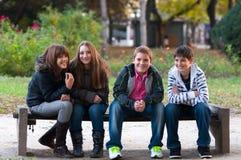 四个少年朋友获得乐趣在公园 库存照片