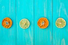 四个干燥切片桔子和柠檬 图库摄影