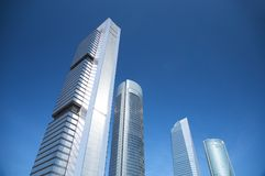 四个摩天大楼的顶端 库存图片