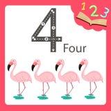 四个数字动物的以图例解释者 向量例证