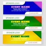 四个样式空白的模板事件横幅或背景与主办者商标安置区域 皇族释放例证