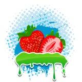 四个框架grunge草莓您文本的向量 免版税库存图片