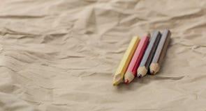 四个步兵-四支颜色铅笔 免版税库存图片