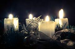 四个灼烧的蜡烛图象 免版税库存照片