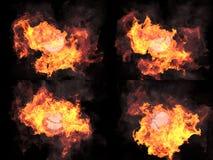 四个版本 在火的球形 免版税图库摄影
