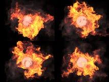 四个版本 在火的球形 免版税库存图片