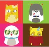 四个狗和猫例证的样式 逗人喜爱的集合 皇族释放例证