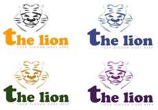 四个狮子国王头商标  图库摄影