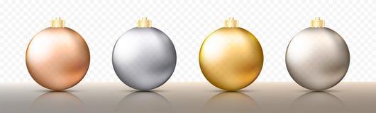 四个现实圣诞节透明中看不中用的物品、球形或者球用金属金子和银颜色不同的树荫  向量例证