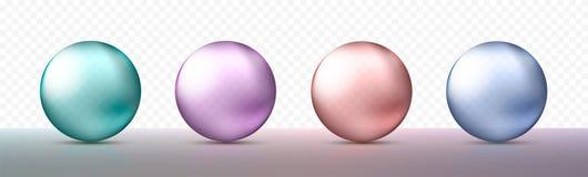 四个现实透明球形或球用金属蓝色,紫色和绿色不同的树荫  设计的对象 Vec 库存例证