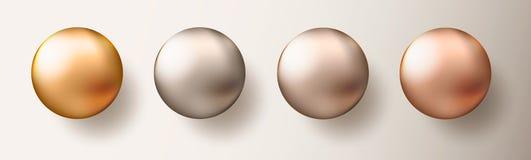 四个现实透明球形或球用金属金子颜色不同的树荫在白色背景 传染媒介例证EP 皇族释放例证