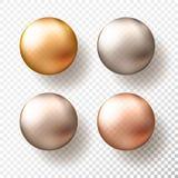 四个现实透明球形或球用金属金子颜色不同的树荫  向量例证EPS10 向量例证