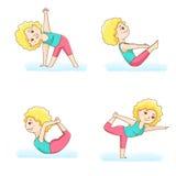 四个瑜伽姿势 免版税库存图片